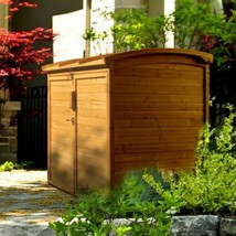 Outdoor Wood Storage Shed Horizontal Trash Can Bag Organizer Garden Bin ... - $443.41