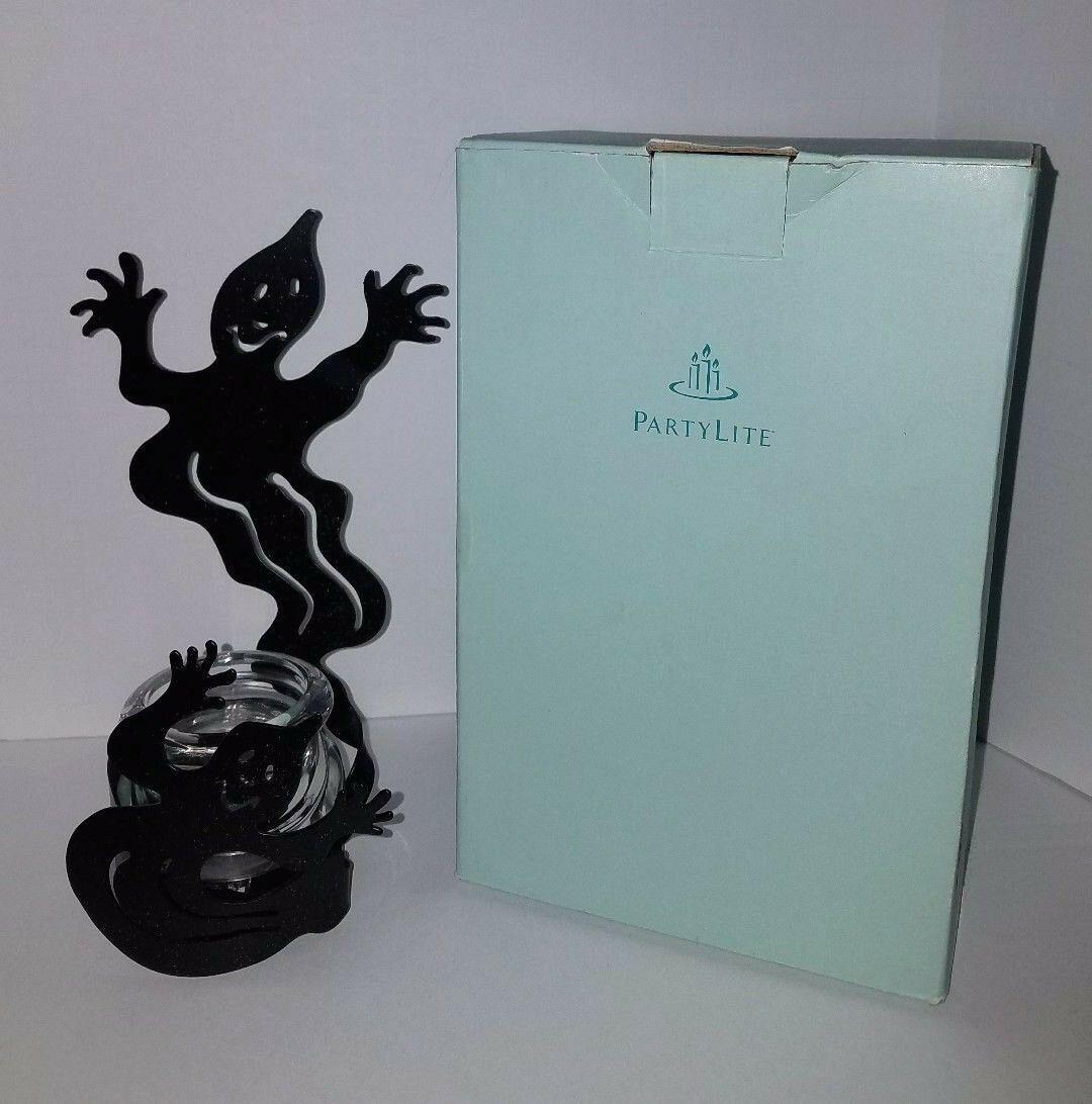 Partylite Halloween Shadow Dancers Ghost Votive Holder with Original Box P7346 - $27.71