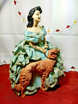 "ANTIQUE 1930s CHALKWARE WOMAN WITH WOLFHOUND BORZOI DOG VERY HEAVY 10.5""x 7 3/4"" image 5"