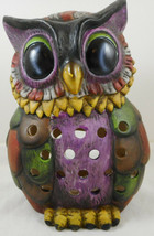 "Owl Statue Candle Holder Ceramic Figurine 8"" Colorful Wise Barn Hoot Tea... - $19.79"