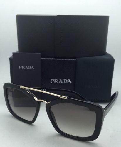 Nuevo Prada Gafas de Sol Spr 24R 1AB-0A7 56-17 Negro y Dorado Monturas Gris