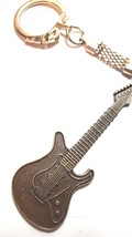 bronze  guitar with chainmail keyring  bronze keychain keyring