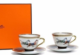 Hermes Porcelain Cup Saucer set Cheval d'Orient Ornament Pottery Tablewa... - £781.30 GBP