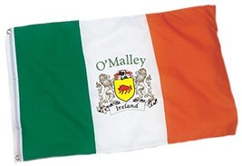 Irish Rose Gifts O'Malley Heavy Duty Outdoor Ireland Coat of Arms Flag -... - $33.32
