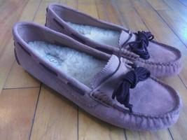 Ugg Meena Size 8 Women's Slippers Moccasin Suede Sheepskin Beige - $38.94