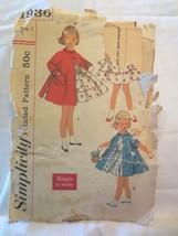 "Simplicity 1936 Vtg 1950's Girls  Dress and Coat  SZ 1 Chest 20"" - $10.00"