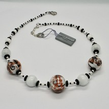 Necklace Antica Murrina Venezia with Murano Glass Black White Orange Coa89a15 image 2