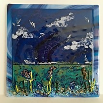 "Handmade Art Glass Beautiful 7"" Square Ocean Scene Seahorses Bas-relief - $19.35"