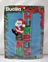 Bucilla Bah Humbug Santa Christmas Holiday Felt Applique Wall Hanging Kit 11x24 - $28.45