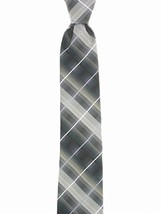 John Ashford Mens Fashion Neck Tie Grid Stripe Black - $9.89