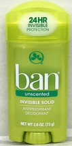 Ban Invisible Solid Antiperspirant Deodorant Unscented 2.6 oz - $7.87