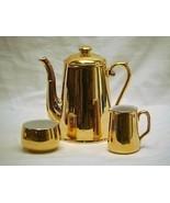Old Vintage Royal Worcester England Luster Gold Coffee Pot Creamer & Sug... - $148.49