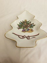 Vintage Russ Berrie Porcelain Christmas Tree Shaped tray dish - $6.88