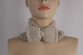 Women Winter Neck Warmer Beige Nude Bow Fashion Scarf Head Hair Cover Holidays - $13.71