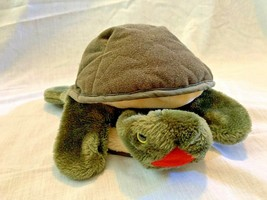 """Folkmanis sea turtle plush hand puppet green red mouth hides in shell 13"""" - $7.91"""