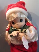 "Precious Moments 1998  christmas eve stocking  Doll  16"" blonde hair/blu... - $28.51"