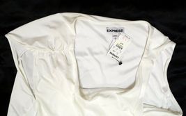 NEW EXPRESS $35 WHITE ASYMMETRIC DRAPED LINED SLEEVELESS DRESSY TOP BLOUSE S image 5