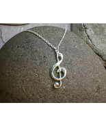 """G-Clef Musical Note Pendant - Sterling Silver Pendant on 18"""" SS Chain - $64.00"""