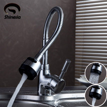 Shinesia Silver Double Handle Kitchen Faucet Mixer Cold Single Hole Water Tap Ch - $46.95