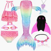 7PCS/Set 2020 NEW Rainbow Color Girls Swimming Mermaid Tail With Monofin Kid Bik - $35.99+