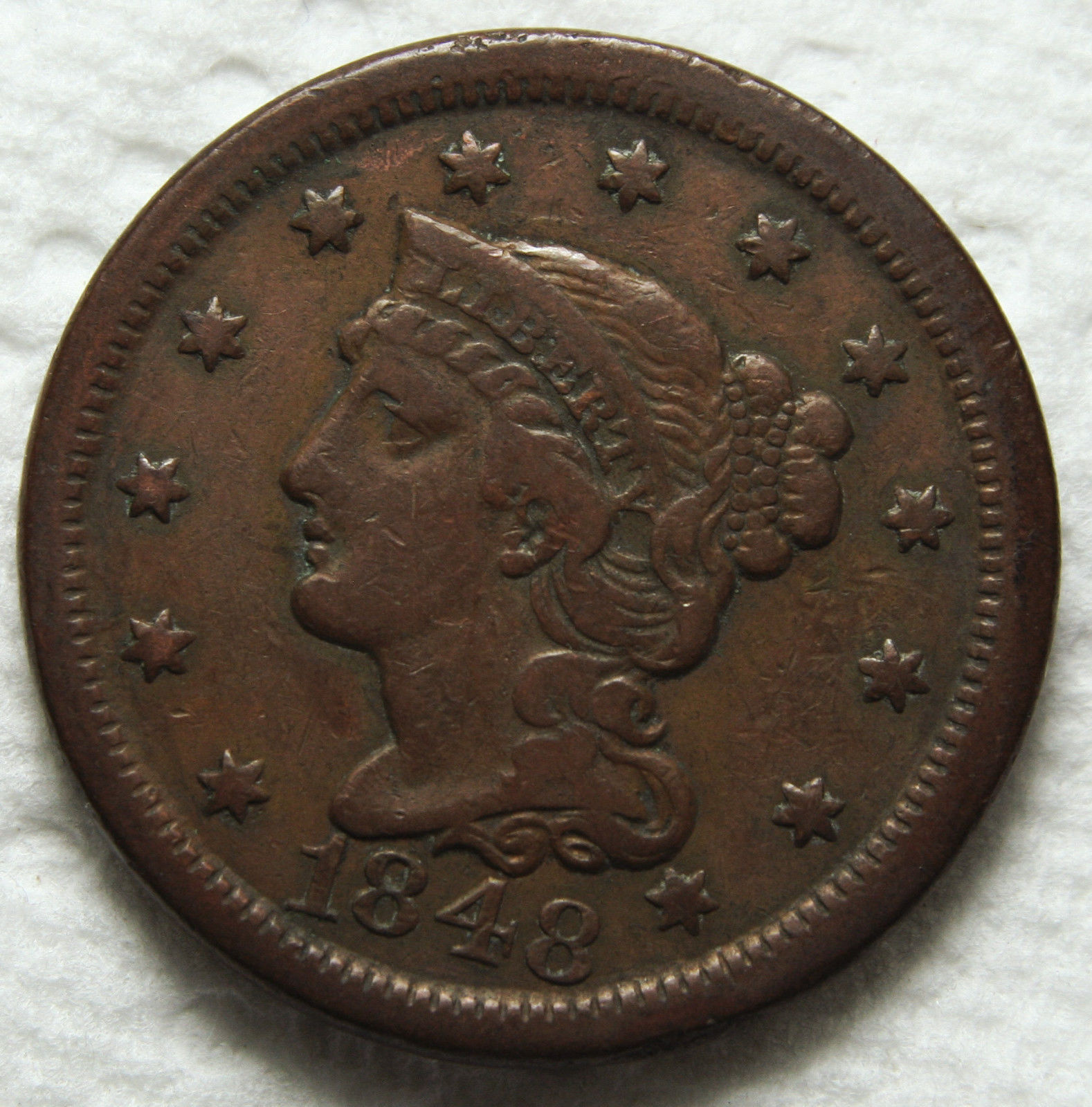 1848 Large Cent Liberty Braided Head Coin Lot # MZ 3406