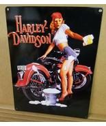 HARLEY DAVIDSON Pin Up Girl metal sign biker decor FREE SHIPPING - $19.79