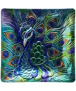 Proud Peacock Platter Art Glass 12.5 Inch Square Kitchen Dining Serving ... - $1.747,09 MXN