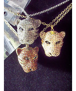 Silver or Rose BLING Rhinestone 3D Leopard Cat Head Necklace Pendant w C... - $39.99