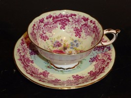 Paragon Rose Daisies And Grapes Vines Cup And Saucer - $99.00