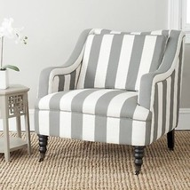 French Country Stripe Arm Chair Shabby Chic Low Back Sloped Arms Home Fu... - $388.08