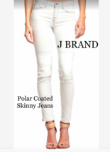 J BRAND Polar Coated Skinny Jeans WHITE sz 27 Retail $225 - $125.00