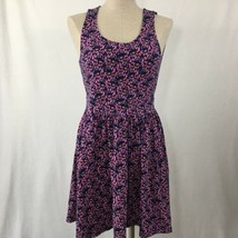 VANS Cutout Summer Dress Purple Floral Sundress Size Medium Purple Mini - €12,30 EUR