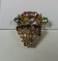 Multi Colored Rhinestone Flower Basket Pin Brooch - $22.76