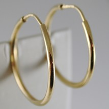 18K YELLOW GOLD EARRINGS CIRCLE HOOP 30 MM 1.18 INCHES DIAMETER MADE IN ITALY image 1