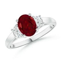 Three Stone Oval 1.2tcw Garnet and Half Moon Diamond Ring Gold/Silver/Pl... - $1,436.78+