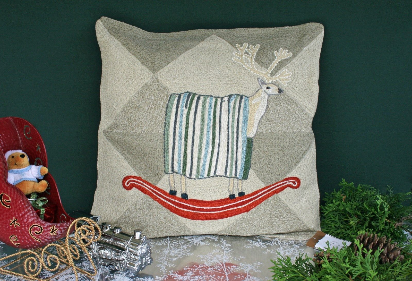 pottery barn rocking reindeer crewel embroidered pillow cover nwt on prancer - Pottery Barn Pillow Covers