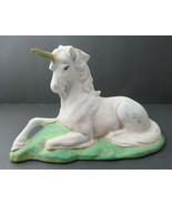 Vintage White Figurine Statue Fairy Unicorn Horse Decoration Ceramic Pottery - $55.00