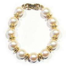 Vintage Faux Pearl Strand 12mm Bracelet 6 1/2 Inches Goldtone - $9.99