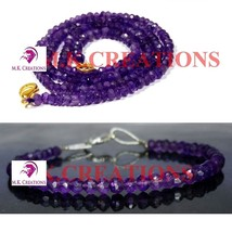 "Natural Dark Amethyst 3-4mm Beads Beaded 28"" Necklace 7"" Bracelet Jewelry Set - $27.56"