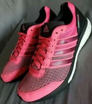 Adidas Women's Adizero Boston Boost Pink and Black Running Shoes Size 7 - $54.44