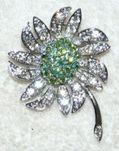 Vintage Sarah Coventry Silvertone Floral Rhinestone Design Brooch Signed Euc - $29.99