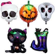 Halloween Balloons Pumpkin Skull Orange Black Party Spiders Web Witch Ba... - £4.66 GBP