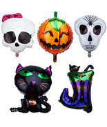 Halloween Balloons Pumpkin Skull Orange Black Party Spiders Web Witch Ba... - $7.79 CAD