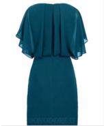 Sheath V-Neck Short Navy Blue Chiffon Mother of the Bride Dress with Bea... - $119.99+