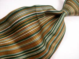 Vtg J C PENNY  Green/gold/tan Vertical Stripes  Mens 100 poly Necktie  8... - $19.99