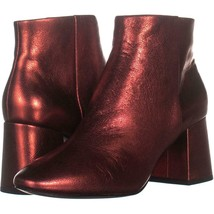 Ash Heroin Block Heel Ankle Boots 881, Red Leather, 9 US / 39 EU - $93.11