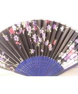 Black w/ Flowers Silk Handheld Hand Fan Folding Fans Asian Hand Fan #Fan166 - $9.99
