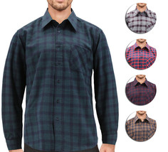 Men's Casual Plaid Cotton Blend Button Up Lightweight Flannel Long Sleeve Shirt