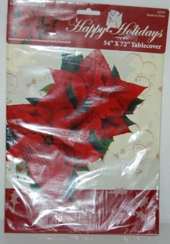 Color Fantastik 62574 Happy holidays Red Off White Poinsettia Table Cover