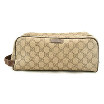 GUCCI GG PVC Leather Clutch Bag Brown Auth sa2157 image 2